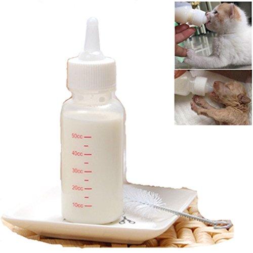 PEIUJIN 50 ml Neugeborene Pet Kleine Hunde Welpen Katze Kätzchen Milch Krankenpflege Pup Milch Fläschchen Nippel Pinsel Set Milch Feeder (Set A)