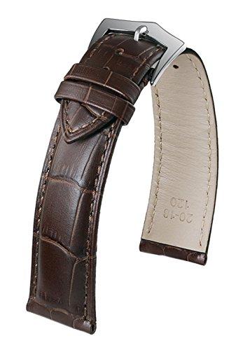 20mm profondi cinture orologio del cuoio marroni lusso per uomini squame...