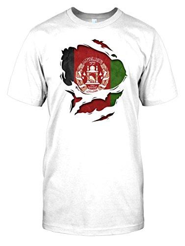 Mens t-shirt DTG Print - Afghanistan Afghani Superhero Under Shirt Flag - World - White - Mens 34-36