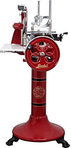 BERKEL Schleifmaschine VOLANO P 15 rot mit floralem Schwungrad und Standfuß 285 mm Klinge für den Hausgebrauch - Made in Italy