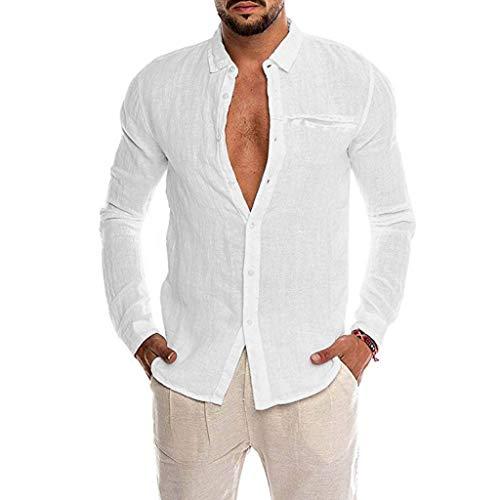 Bestyyo Herren Einfarbig Langarm Imitation Hanf Pocket Revers Shirt Lose Baumwollmischung der Männer Normallack-Knopf-Taschen-langes Hülsen-Hemd übersteigt Bluse (Weiß, - Indien Kostüm Schmuck Sets