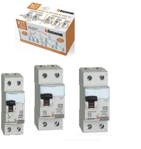 Bticino Kit Impianto Base Interruttori Magnetotermici Differenziali 10A 16A 25A CUB648L1N75