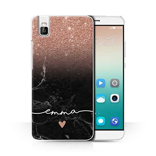 eSwish Personalisiert Individuell Handschrift Glitter Ombre Hülle für Huawei Honor 7i/ShotX/Roségold FunkeIn Schwarz Marmor Design/Initiale/Name/Text Schutzhülle/Case/Etui