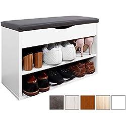 RICOO Meuble de Rangement pour Chaussure WM032-W-A Banc Armoire avec siège Coussin Pouf pour l'entrée Commode à Bottes Banquette de Range-Chaussures Chambre Cuisine en Bois Blanc et Anthracite