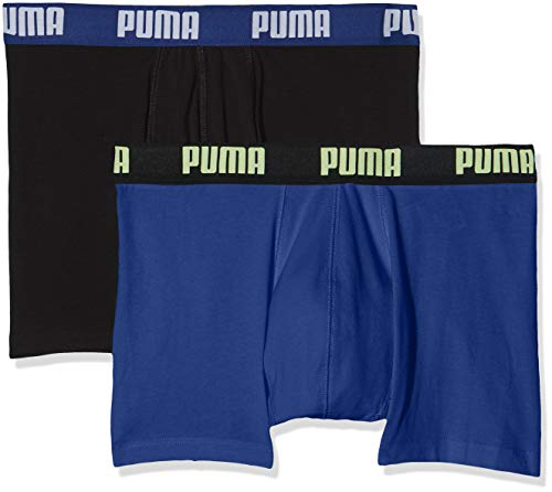 Puma Herren  Basic Boxer , 2er Pack, Noir (Blue/Black/Yellow 249), XX-Large