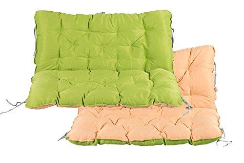 Meerweh Auflage mit Rückenteil Sitz und Rückenkissen mit Bänder Polsterauflage Bankauflage Wendeauflage, grün/beige, ca. 100 x 98 x 10 cm