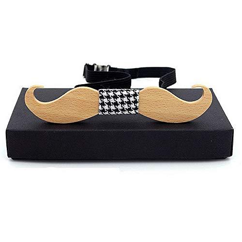 ZSRHH-Neckchiefs Halstücher Herren Krawatte Stilvolle Bart Form Handgefertigte Kreative Holz Fliege mit Geschenkbox Kleid Neuheit Zubehör (Farbe : C1)