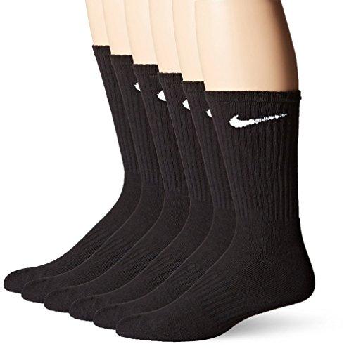 Nike Crew Socken (Performance Baumwolle Gepolstert) 6 Pack Schwarz große Mens Schuh Größe 8-12 (Nike Performance Socken Gepolstert)