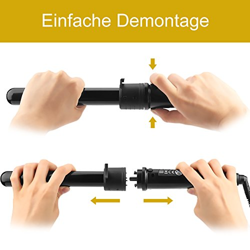 Lockenstab 5 in 1 LCD Keramikbeschichtung Multifunktions Austauschbare Lockenwickler Kit  von Elehot - 6