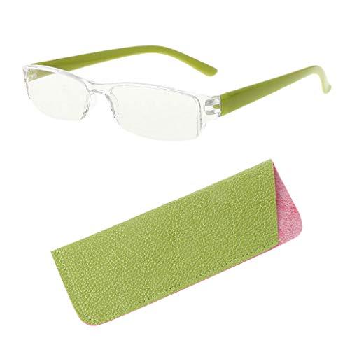 Cuigu Lesebrille, leichte randlose presbyopische Brille, klare schlanke Lesebrille + 1,0 / + 1,5 / + 2,0 / + 2,5 / + 3,0 / + 3,5 / + 4,0 Dioptrienbrille mit Ledertasche Unisex, 4 Farben (+2.00, Grün)