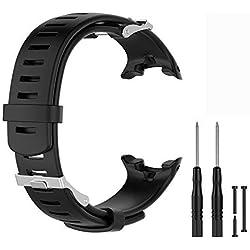 WEINISITE Bracelets pour Suunto D4/D4i Novo, Souple Silicone Remplacement Bracelets pour Suunto D4/D4i Novo Watch (Noir)