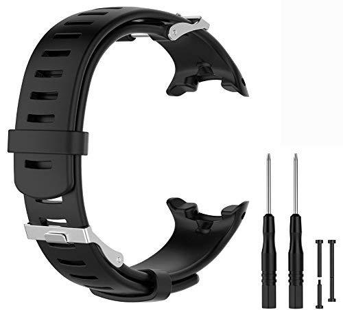 WEINISITE Silikon verstellbares Ersatzband Armband für Suunto D4 / D4i Novo Uhr (Schwarz)