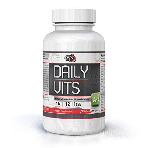 Pure Nutrition DAILY VITS Multivitamine Mineralstoffe Тabletten Hochdosiert Männer Frauen|14 Vitamine 12 Mineralien A-Z Komplex|50 100 200 Tage Versorgung Täglich 1 Kapseln|Vegan Bio Premium Qualität
