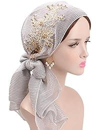 574e966f341 Dinglong Grosses Soldes Head Wrap ÉCharpe Dames Headwear 2018 Soie  Turquoise Fold Turban Chapeau Pré-Tied Foulards Femmes Rides…