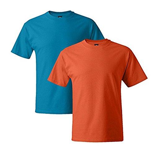 Hanes Mens 5180 Short Sleeve Beefy T, 1 Orange/1 Teal 1 Orange / 1 Teal