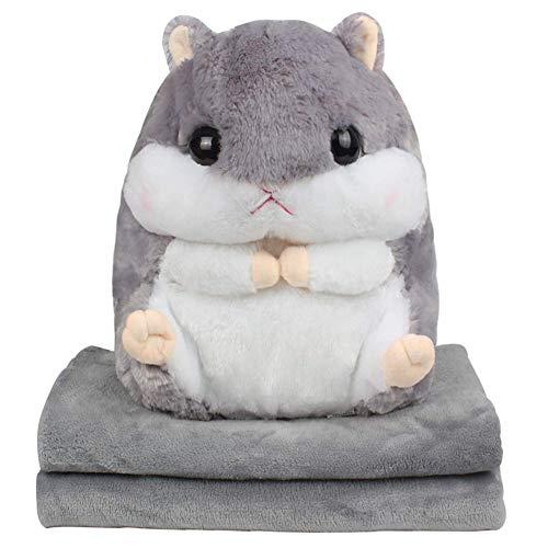 EisEyen Baby Kinder Plüschtier Hamster Kissen mit Fleecedecke Blanket Kawaii Fluffy Hamster weichem Plüsch Spielzeug Puppe niedlich gefüllte Spielzeug