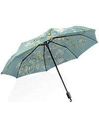 ISAOA Paraguas de Viaje automático Compacto Plegable Paraguas Van Gogh Pintura Resistente al Viento Ultra Ligero