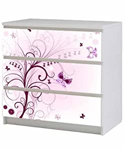 motif floral meubles sticker pour ikea malm poitrine de tiroirs 80 x 78 cm violet. Black Bedroom Furniture Sets. Home Design Ideas