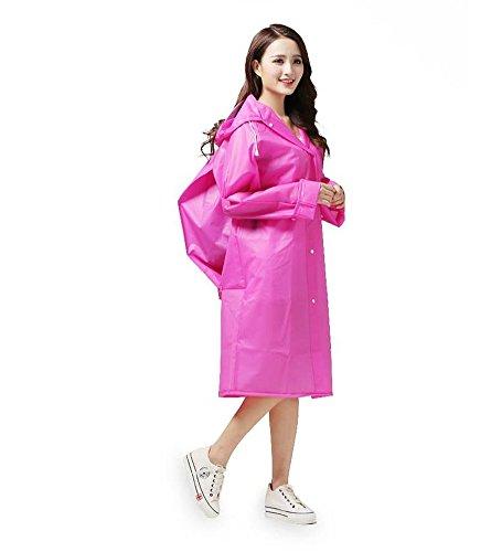 Cystyle wiederverwendbarer Regenponcho – Regenmantel für Erwachsene mit Ärmel und Aufbewahrungstasche für Regenschutz Rosa 1