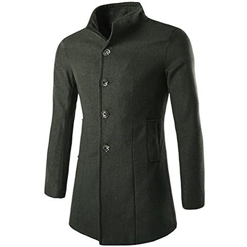 Tonsee Hommes hiver mode Trench Coat Chaud s'épaissir Veste longue manteau Peacoat (Asie M, Armée verte)