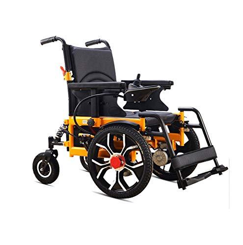 NIGHT WALL Tragbarer Elektrorollstuhl, zusammenklappbar und leicht zusammenklappbar Elektrischer Rollstuhl, motorisiert, genehmigt, Aviation Travel 500-Watt-Motor mit Kupferkern, gelbD, 12A