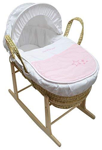 Hermoso bebé Moses cesta con balancín Natural soporte rosa My Little Star Palm