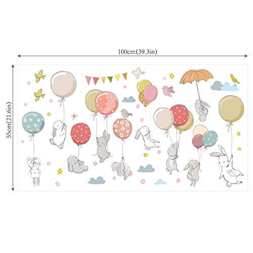 Ancoree Süße Ballon Fliegen Kaninchen Wand Aufkleber Öko-PVC Aufkleber Abnehmbare Aquarell Aufkleber Selbstklebende Wandbilder Modern Home Wasserdicht Fototapete für Kinder Schlafzimmer-100X55CM -