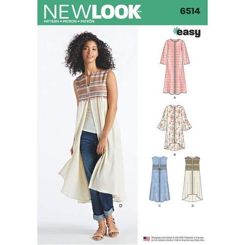 Simplicity Muster New Look Damen Mantel oder Weste mit Ärmel und Länge Variationen Schnittmuster, weiß (Langer Mantel-muster)