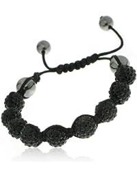Shamballa'styl - 9n - Bracelet 9 Boules Mixte - Macramé Tressé - Cristal/Hématite - Noir - Ajustable