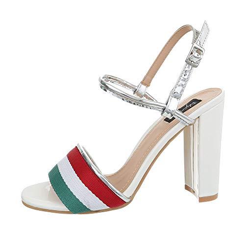 Ital-Design Damenschuhe Sandalen & Sandaletten High Heel Sandaletten Synthetik Weiß Multi Gr. 39 Weiß Multi Strap