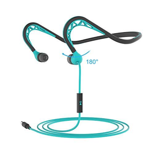 MUCRO Ohrhörer mit Kabel, hinter dem Nacken, für Outdoor-Sport-Kopfhörer mit Mikrofon und Sport-Workout, In-Ear-Headset, Blau