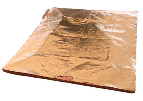 CopperLeaves 100x Blatt-Kupfer Blattmetall Kupfer 14x14cm - 100 Blätter in Profi-Qualität Kupfer Bronze - einfache Verarbeitung zum Versilbern & Dekorieren & Basteln (Blatt Kupfer)