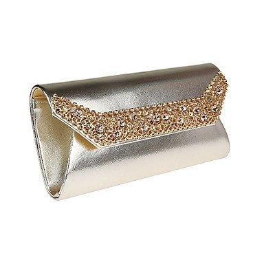 Frauen Abend Tasche PU Polyester alle Jahreszeiten Hochzeit Event / Party formellen Party & Amp; abends Club Klappe Strass magnetische Silber Schwarz Gold Silver
