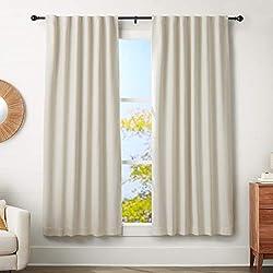 AmazonBasics Tringle à rideau avec embouts ronds, 182 à 365 cm, Noir