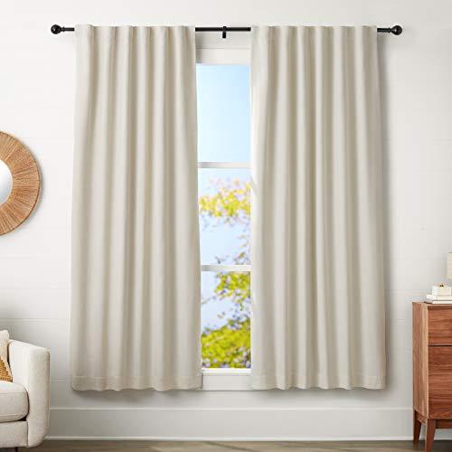 AmazonBasics - Barra para cortinas con remates redondeados, 182-365 cm, Negro