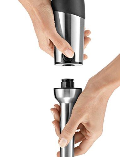 Bosch MaxoMixx MSM88190 - Batidora de mano, 800 W, regulador electrónico de velocidad, cúpula con cuatro cuchillas, set completo de accesorios, color negro y gris