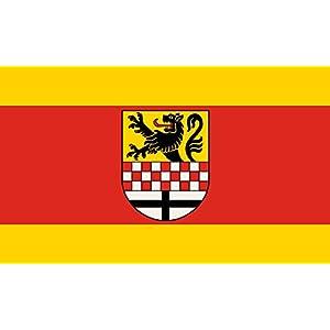 magFlags Flagge: Large Beschreibung der Flagge Die Flagge des Märkischen Kreises ist von Gelb zu Rot zu Gelb im Verhältnis 1 3 1 längsgestreift und zeigt in der Mitte der r