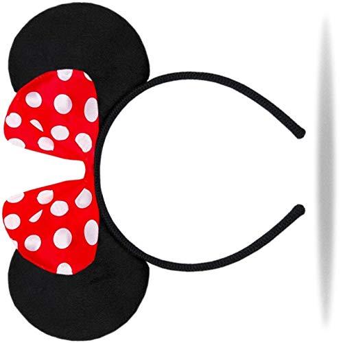 Hatstar Haarreifen mit Maus Ohren | Mouse Ears in schwarz mit roter Schleife und weißen Punkten für Kinder und Erwachsene ()