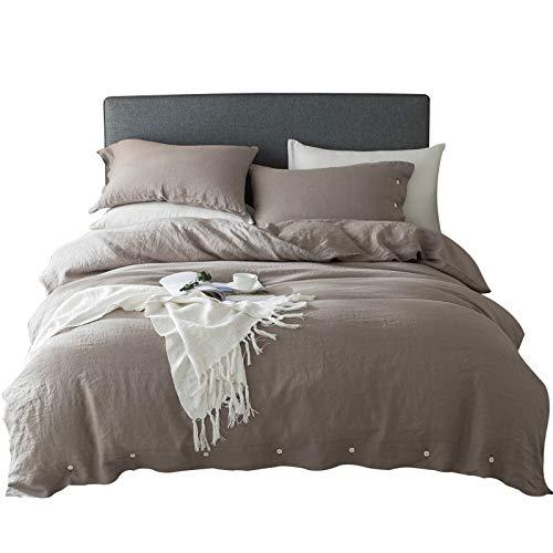 JASONN Vierteilige Heimtextilien-Bettwäsche aus reinem Leinen, einfache Bettwäsche mit Vier Jahreszeiten, einfacher kühler Bettbezug, Bettlaken, Kissenbezug
