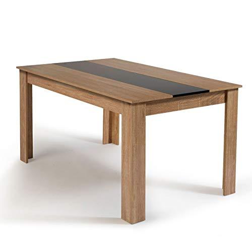 IDMarket - Table à manger de 6 personnes imitation hêtre et no