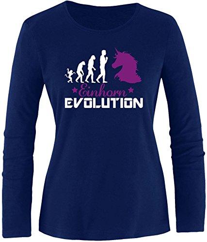 EZYshirt® Einhorn Evolution Damen Longsleeve Navy/Weiß/Violett