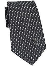 Versace Men's Charcoal Silver Geometric Print Neck Tie