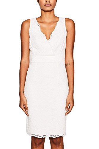 ESPRIT Collection Damen Kleid 047EO1E011, Weiß (Off White 110), 38