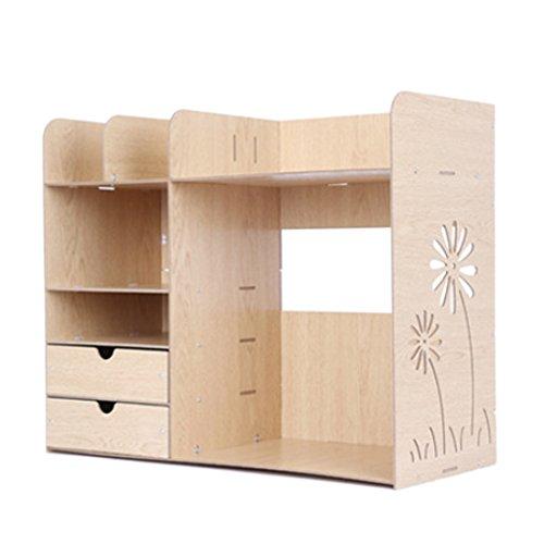 Likeluk Regal Bücherregal Aufsatzregal Aufbewahrungsregal Tisch-Organizer für Wohnzimmer...