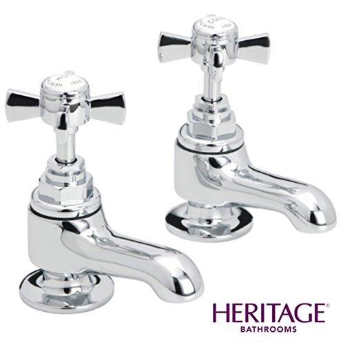 Preisvergleich Produktbild Heritage Dorchester, 1 / 2 Zoll, Kurze Säule Wasserhähne, Vierteldrehung CD TDCCS00 in Chrom (Paar)