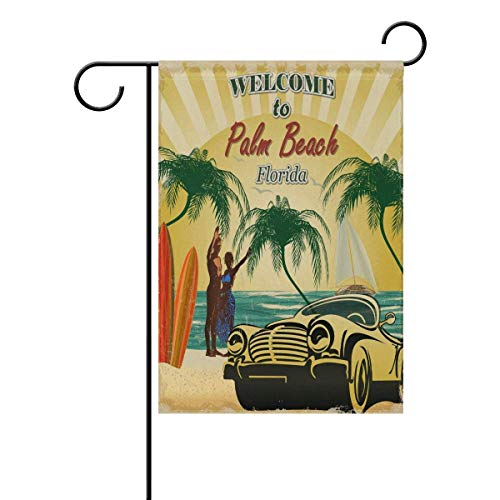 momnn Retro Poster Florida Garden Yard Flag,Welcome to Palm Beach Indoor Outdoor Decorative Flags for Farm House Wall Banner 12x18 inches (Outdoor Decorative Flag Pole)