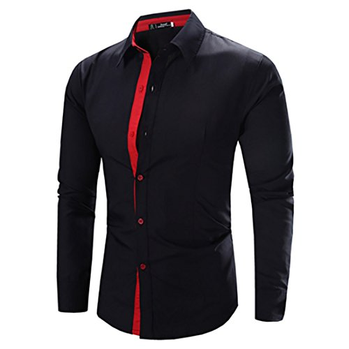 Men's Camisa Masculina Long Sleeve Slim Fit Casual Shirts Black Red
