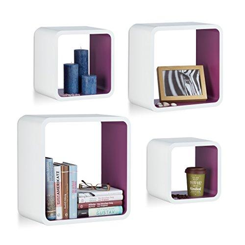 Relaxdays 10021777_749 set 4 mensole da parete cube per il soggiorno, forma quadrata, bianco-viola