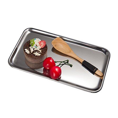 Rechteckig Set Kaffee-tisch (IMEEA Kleine Rechteckig Serviertablett für Küche Badezimmer SUS304 Edelstahl (8 x 4,5 inch) (Silber))