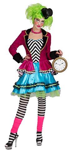 Karneval-Klamotten Hutmacher Kostüm Damen Kleid mit Jacke verrückter Hutmacher Alice im Wunderland Damen-Kostüm Größe 36/38